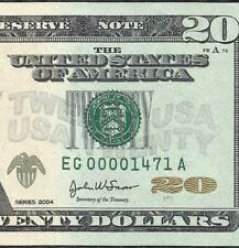 New Listing2004 $20 (~Chicago~) (~Low Serial~) Old Us Paper Money Currency!
