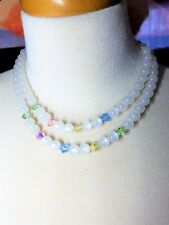 White Moonglow Double Strand Necklace with pink green blue yellow crystals Vinta