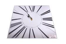 Square Vintage Silver Mirrored Glass Modern Glitter Roman Numerals Wall Clock
