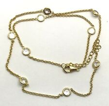 Sterling Silver Gold Tone Floating Round Faceted CZ Chain Collar Choker Necklace