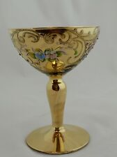 MURANO VENETIAN Purple Hand Painted Gold Gilt Applied Flowers Champagne Glass