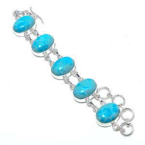"Larimar 925 Sterling Silver Ethnic Bracelet 7-7.99"" B1276-49"