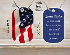 Personalized Custom Necklace Dog Tag American Flag Soldier Military Death Loss