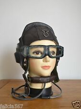 Aviation MiG-15 Fighter Pilot Flight Leather Helmet(extra largest),Goggles, Mic