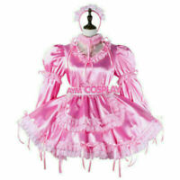 pink satin-orgaanza lockable Sissy baby maid mini dress CD//TV Tailor-made