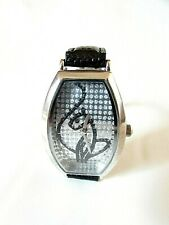 Baby Phat Watch Sitting Cat with Inlaid Rhinestones and Black Leather Band