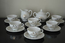VINTAGE WHEAT PATTERN CHINA CREAMER & SUGAR BOWL 6 CUPS & SAUCERS JAPAN #I
