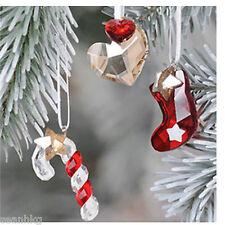 1054570 Set of 3 -Stocking, Hearts, Candy Cane, Crystal Ornament Swarovski Mib