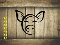 Stylized Pig Head, Stencil 350 micron Mylar not thin stuff#Farm015