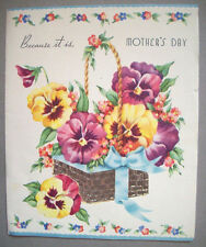 Mother's Day basket of flowers pansies vintage greeting card *F2