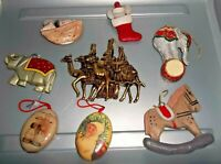 Very Old Christmas Ornaments Lot of 8 Variety Paper Mache, Resin, Ceramic-Great!
