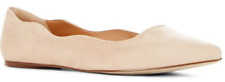 NEW JustFab Krista in Natural/Cream Suede Like Pointed Toe Flats US Size 7.5