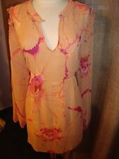 Anna Scholz Simply Be Peach Orange Pink Floral Print Pleats Blouse Size12 NWT