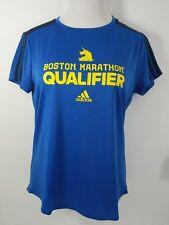 2017 Adidas Boston Marathon Qualifier Running T-Shirt Women Large Blue SS New
