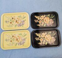 """4 1960s MCM Black Gold Floral Bouquet Metal Trays vintage hostess 8.75"""" x 14"""""""