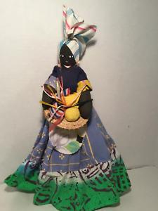 "Vintage Black Americana Rag Doll w/Vegetable Basket, 18"" Tall, Great Craftsmansh"