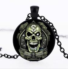 Badass Gangster Black/Bronze/Tibet silver Glass Dome Chain Pendant Necklace
