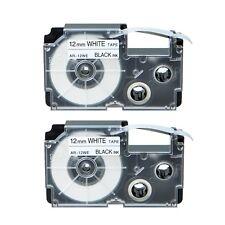 "2PK XR-12WE Black on White Label Tape for Casio KL-60 100 7000 8200 8800 1/2"""