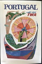 FLY TWA Portugal Mermaid by David Klein original vintage travel poster 1950s-60s
