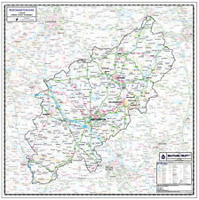 NORTHAMPTONSHIRE COUNTY WALL MAP. LAMINATED EDITION. Map Scale 1:100,000