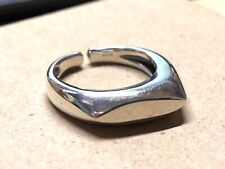 Solid 925 Sterling Silver Mens Asymmetric Band Ring Open Adjustable Size Boxed