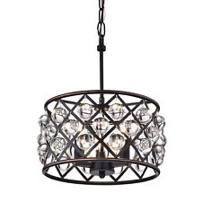 Azha Small 3 Light Crystal Drum Pendant Chandelier Oil Rubbed Bronze