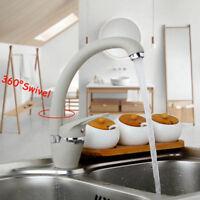 EUB Kitchen Sink Mixer Faucet Single Handle Deck Mounted 360° Swivel Basin Taps