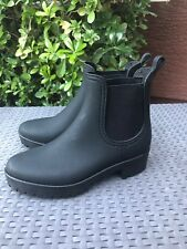 JEFFREY CAMPBELL CHELSEA RAIN Boots WOMENS size 8 black rubber elastic pull on