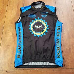 DRV Cycling Vest Mens Large Full Zip Blue Black L Vented Sleeveless Windbreaker