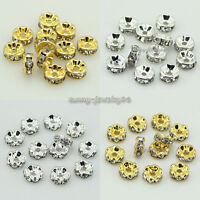 100pcs Straight/Wavy Rondelle Crystal Rhinestone Spacer Beads 4mm,6mm,8mm,10mm
