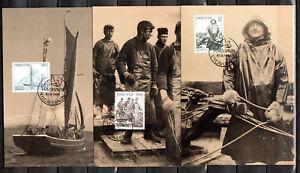 Maximum card 1984 FAROE ISLANDS maxicard, maxi fishermen, deep sea fishing, FISH