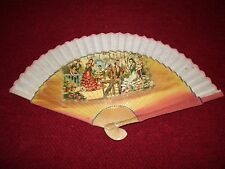 """Vintage Hand-Painted Spanish Themed Hand Fan 8-7/8"""" Wooden Handle with Linen"""
