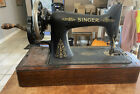 Singer Hand Crank Antique Sewing Machine 1920 s With Wooden Case