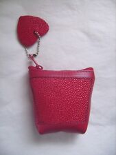 Petit porte-monnaie en véritable cuir Galuchat et cuir vachette rouge neuf emb.
