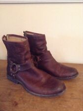 FRYE Phillip Harness Ankle Short Womens Boots 9.5 M Brown Leather 76871 Engineer