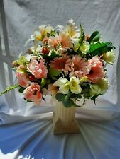 New ListingArtificial White Pink Green Wedding Bridal Bouquet Peony Lily Daisy Silk