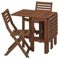IKEA Table Pliante+2 Chaises Pliantes Pour L'Extérieur,Braun Jardin de Terrasse,