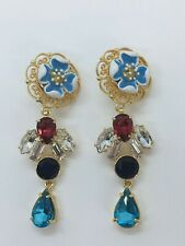 Auth Dolce & Gabbana Multicolor Penda Rhinestone Flower D&G Earrings / L0764