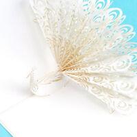 Weißer Pfau 3D knallen oben Grußkarte Geburtstags Ostern Jahrestags Muttertag