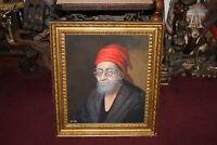 Original Ignacio Beller Painting Portrait Man Glasses Beard Turban-Framed