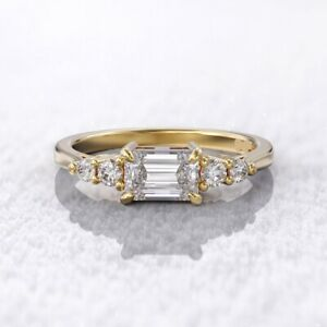 5 stone 6x4mm diamond east west emerald cut engagement Fine ring 14k Yellow Gold