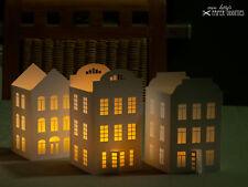 Windlicht-Bastelset »Lichterstadt I« (Basteln ohne Werkzeug und Kleber möglich!)