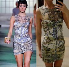 AUTH RUNWAY JUST CAVALLI Ruched floral printed mesh & denim Dress 40