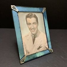 "Art Deco Blue Mirror Picture Frame 8x6"" Chrome Corner 6.5""x4.5"" Photo Easel Back"