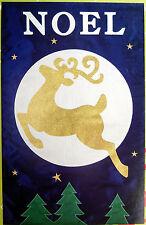"Large Evergreen ""Noel"" Gold Glitter Reindeer Porch/House Flag (28"" x 44"")"