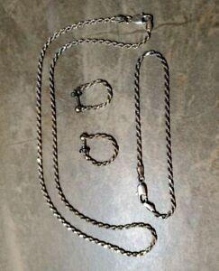 Sterling Silver 3 Piece Set Diamond Cut Rope Chain NECKLACE BRACELET & EARRINGS