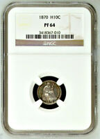1870 NGC PR64 Non-Doctored 🔴 $860 NGC PG ✭ Amazing PROOF Seated Half Dime H10C
