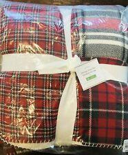 Pottery Barn SHERPA Faux Fur Landon Throw Plaid Blanket Decor Christmas 55x80