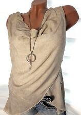 Gr.36-38-40 Sommer Top Möer (Beige Touch) Damen Wasserfall Bluse Tunika T-Shirt