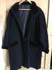 Vintage Black Wool And Cashmere Blend Coat With Velvet Details Size 14 (14-16)